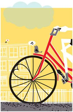 yellow and red: cute graphic art - love the little birdie
