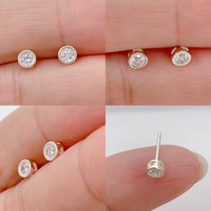Excited to share this item from my #etsy shop: Dainty Cubic zirconia bezel stud earrings Sterling silver, dot stud earrings, Tragus stud, cartilage stud, tiny 4mm CZ silver earrings Dainty Earrings, Dainty Jewelry, Sterling Silver Earrings Studs, Bead Earrings, Silver Beads, Cartilage Stud, Jewelry Polishing Cloth, Ear Studs, Etsy Shop