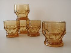 Amber Glassware by Anchor Hocking Set of 5 by FeistyFarmersWife, $15.00