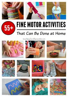 55+ fine motor activities for toddlers and preschoolers that you can do at your kitchen table. Perfect during school break, too!