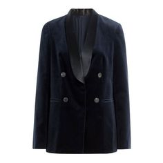 Brunello Cucinelli Cotton Velvet Blazer (22.899.510 IDR) ❤ liked on Polyvore featuring outerwear, jackets, blazers, long sleeve blazer, brunello cucinelli jacket, blue double breasted jacket, blue jackets and blue double breasted blazer