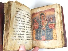 Antique Ethiopian Orthodox Hand Written in Ge'ez Manuscript Prayer Book - Animal Hide Book - African Religious Icons - dated 1700s