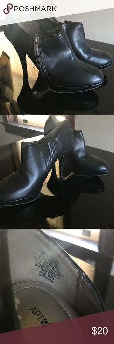 Stiletto Heeled Booties Black faux leather booties with stiletto heel, outside zipper and stretchy panel inside. Shoes Ankle Boots & Booties