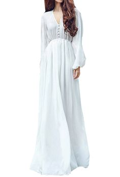 Women Long Sleeve Boho Chiffon White Maxi Dress (M): Amazon Fashion