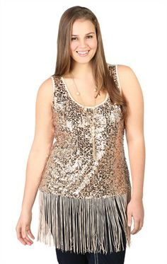 Deb Shops Plus Size Racerback Tank with Sequin Front and Fringe Bottom $16.14