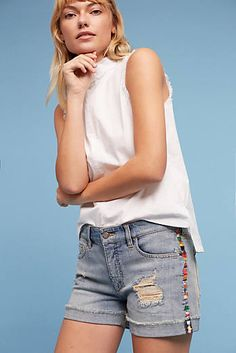 Pilcro Hyphen High-Rise Embroidered Shorts