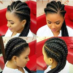 Protective cornrows to Style your hair with. See different cornrows styles. Protective hair styles tuck away the ends of your hair in sight Big Cornrows Hairstyles, Braids Hairstyles Pictures, African Hairstyles, Hair Pictures, Hairstyles 2018, Black Hairstyles, Simple Hairstyles, Weave Hairstyles, Protective Hairstyles