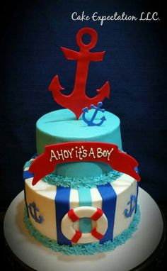 Ahoy Its A Boy Baby Shower Cake