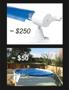 DIY Pool Cover Remover and Putter Onner, 19 Steps (with Pictures) Pool Cover Roller, Above Ground Pool Cover, Solar Pool Cover, Pool Storage, Pool Hacks, Pool Care, Backyard Pool Landscaping, Landscaping Ideas, Pool Heater