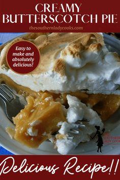 Best Grill Recipes, Easy Pie Recipes, Tart Recipes, Pudding Recipes, Best Dessert Recipes, Cheesecake Recipes, Fun Desserts, Great Recipes, Butterscotch Pie