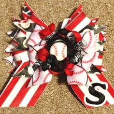 Softball game day medium sized bow with initial that I made for my niece
