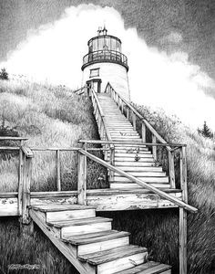 Owl's Head Leuchtturm Leinwanddruck / Leinwandkunst von Bob Manthey Source by OneEyedWolf Owls Head Lighthouse, Lighthouse Drawing, Landscape Sketch, Landscape Drawings, Landscape Rake, Drawing Sketches, Art Drawings, Drawing Ideas, Art Sur Toile