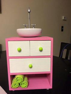 Diy american girl dollhouse dresser and sink