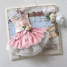 pink floral paper dress card with tulle, pearls, ribbons, and roses Shabby Chic Karten, Shabby Chic Cards, Baby Cards, Kids Cards, Arts And Crafts, Paper Crafts, Diy Paper, Dress Card, Card Tags