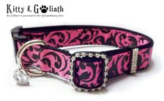 Hey, I found this really awesome Etsy listing at http://www.etsy.com/listing/83087445/dog-collar-pink-black-damask-w