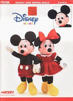 Mickey & Minnie Dolls Crochet Patterns Book Disney Mouse Toys Soft Sculpture
