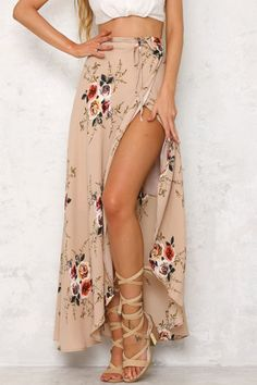 Random Floral Print Splited Hem Self-tie Maxi Skirt