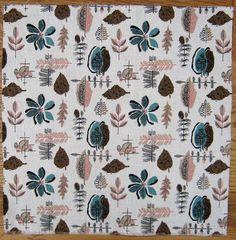 Vintage Fabric 1950s Barkcloth Leaves Pine by NiceworkByTheYard, £12.00