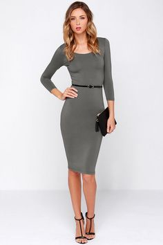As I See Fit Grey Bodycon Midi Dress at Lulus.com!