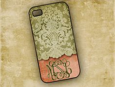 Floral monogram iPhone 4s case, Iphone 5 case - personalized pink and green lace iPhone 4 cover, plastic or silicone iphone case (9619) on Etsy, $16.99