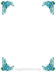 Printable Blue Flower Border. Use The Border In Microsoft Word Or Other  Programs For Creating