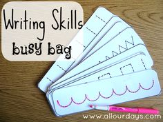 Writing Skills Busy Bag of 5 Dry Erase Busy Bag Ideas) 31 Days of Busy Bags & Quiet Time Activities Quiet Time Activities, Writing Activities, Preschool Activities, Pre Writing, Writing Skills, Writing Practice, Writing Ideas, Early Learning, Kids Learning