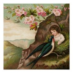 Vintage Painting  Girl Pink Flower Cute Bird Poster
