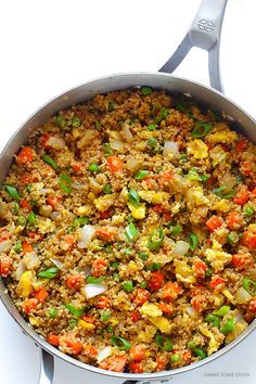 "Fried ""Rice"" Quinoa Fried ""Rice"" -- all of the great flavors of fried rice, made with protein-packed quinoa instead of rice!Quinoa Fried ""Rice"" -- all of the great flavors of fried rice, made with protein-packed quinoa instead of rice! Rice Recipes, Asian Recipes, Vegetarian Recipes, Dinner Recipes, Healthy Recipes, Turkey Recipes, Quinoa Recipes Easy, Healthy Cooking, Healthy Eating"