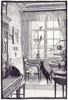 """""""The upper window is open,"""" said the canary. """"Fly! Fly away!""""    Hans Tegner, from Fairy tales and stories, by Hans Christian Andersen, New York, 1900.   from OBI via archive.org"""