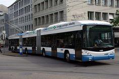 bi-articulated trolleybus in Zurich, Switzerland HESS AG #HESS #AG #CH