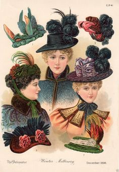 1896 PRINT ARTICLE: Winter Millinery Victorian Ladies' Fashion Hats  Bonnets | eBay