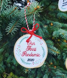 Our First Pandemic 2020 Covid Christmas Ornament - 4 inch hoop ornament - Funny Christmas Embroidery Commemorative Ornament Embroidery Hoop Decor, Funny Embroidery, Christmas Embroidery, Office Gifts, Christmas Humor, Gift Wrapping, Christmas Ornaments, Holiday Decor, Paper