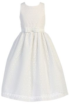 Floral Eyelet Embroidered White Cotton First Holy Communion Dress (Girls Sizes 6 to 12)