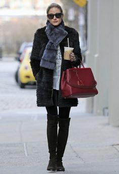 Olivia Palermo wearing Stuart Weitzman 5050 boots Fendi 2 Jours Elite bag Westward Leaning Children of California sunglasses  New York City April 7 2013