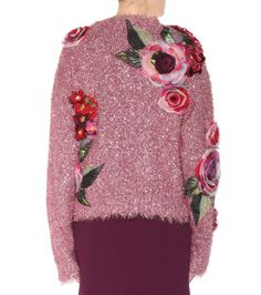Pink metallic sweater with appliqué