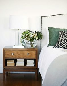 Bed head shape, lamp and side table