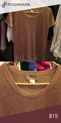 Gold Knit Top In good used condition.It has no defects at all.Would look a great with a black necklace choker. Love 21 Tops Blouses