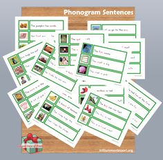 Phonetically decodable phonogram Sentences-digraphs and vowel teams- and 14 more different sets of Montessori printables  (free though New year's Day 2014)