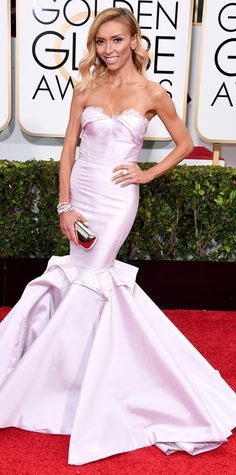 Golden Globes 2015: Guiliana Rancic in a Maria Lucia Hohan gown and Forevermark jewels.