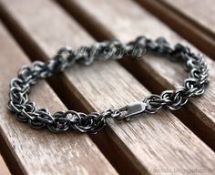 Chainmaille mens bracelet oxidized blackened solid Sterling Silver.