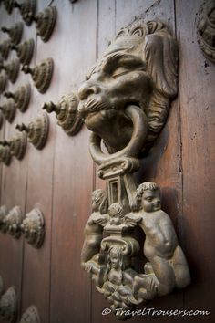 Antique Door Knocker on the Door of Lima Cathedral