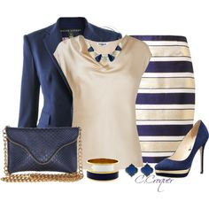 Navy Stripes by ccroquer on Polyvore featuring L.K.Bennett, Ralph Lauren, By Malene Birger, Jimmy Choo, J.J. Winters, Dorothy Perkins and Vince Camuto