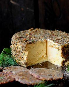 Herb Crusted Provolone Cheese (Vegan) - add a dash of vinegar, culture, nutritional yeast or probiotic Vegan Cheese Recipes, Vegan Foods, Vegetarian Recipes, Provolone Cheese, Homemade Cheese, Vegan Appetizers, Going Vegan, Raw Vegan, Vegan Gluten Free