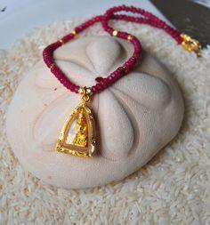 Ruby quartz and gold Buddha necklace / Buddhist by Tarinee on Etsy, $50.00