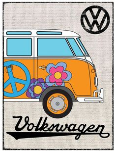 VW Camper Hessian Orange Metal Wall Sign
