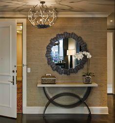 Place to put our round mirror - entry decor
