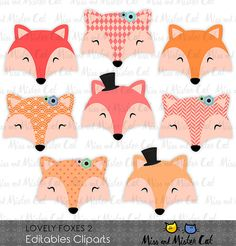 Fox clipart. Foxes vector graphics, Foxes clip art, digital images. Commercial use. Model Lovely Foxes 2  Vector clipart set is suitable for