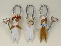 Romantic Chenille Cat Ornaments - Shabby Chic Christmas Decorations