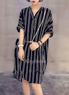 Vestidos Algodón Raya Hasta las rodillas Media manga (1043209) @ Dress Ideas, Shirt Dress, Patterns, Shirts, Dresses, Fashion, Caftan Dress, Half Sleeves, Ladies Fashion Dresses
