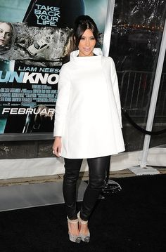 """Kim Kardashian Photos Photos - Actress Kim Kardashian arrives at the Los Angeles premiere of """"Unknown"""" at the Mann Village Theater on February 2011 in Westwood, California. - Premiere Of Warner Bros. Kim Kardashian, Kardashian Photos, Cute Winter Outfits, Cute Outfits, Stella Mccartney Coat, Champagne Color Dress, Sheer Gown, Celebrity Style Inspiration, White Blazers"""